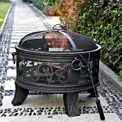 Outdoor Fire Pit Round Stainless Steel Wood Burning Stove Firepit Bronze New