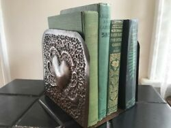 Vintage Arts & Crafts Art Deco Hammered Copper HEARTS Bookends Pair