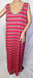 Just Love Women Plus Size 2x Coral Gray Red striped T Shirt Dress Summer Sun
