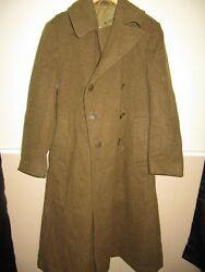 WW2 US ARMY WOOL OVERCOAT 1940 PATTERN TRENCH COAT GOOD CONDITION USED