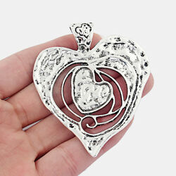 2pcs Antique Silver Large Double Open Heart Shaped Charms Necklace Pendants $3.99