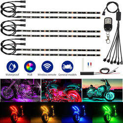 4X Motorcycle led lights Wireless Remote 8x6 color Neon Glow Light Strips Kit US $24.99