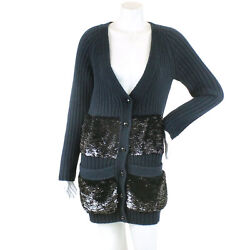 Auth LOUIS VUITTON Cardigan Cashmire Long Navy S WOMEN 90052135