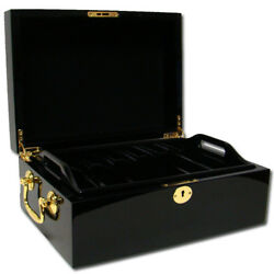 500 Count Black Mahogany Wooden Poker Chips Storage Case New Empty