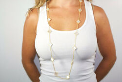 Hand Crafted 16 Mother of Pearl Clover Necklace. $137.99