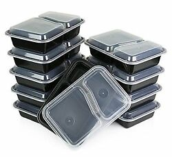 15 Meal Prep Containers 2 Compartment Food Storage Plastic Reusable Microwavable