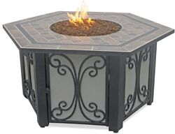 Endless Summer Hexagon LP Gas Outdoor Firebowl Slate with Cover and Fire glass I