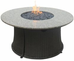 Round LP Gas Outdoor Firebowl Granite Mantel with Fire glass Included