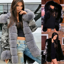Roiii Winter Faux Fur Women Parka Jacket Army Camo Long Warm Coat Hooded Outwear