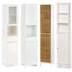 Tall Slim White Wood Storage Cabinet wShelves Drawer Doors