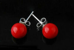 Pretty New Silver Red 10mm South Sea Shell Pearl Round Ball Bead Stud Earrings