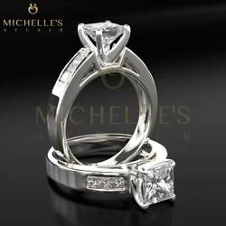 1.50 CT SOLITAIRE WITH ACCENTS ENHANCED DIAMOND RING D VS 14K WHITE GOLD