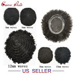 Full Lace Afro Curl Mens Toupee 100% Human Hair Africa Waves All Lace Hairpiece