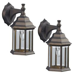 2 Pack of Exterior Wall Light Fixture Outdoor Sconce Lantern Oil Rubbed Bronze