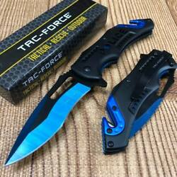 Tac Force Open Assisted Police Department Two Tone Blade Rescue Pocket Knife $11.99
