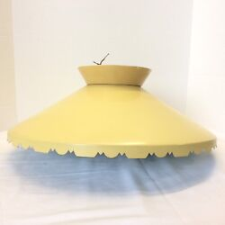 Mid Century Modern Atomic Spaceship Lamp Yellow Metal Ceiling LIGHT fixture 18quot; $120.00