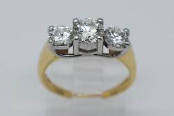 Magic Glo 14K Yellow Gold amp; Platinum 1.50 Ct Round Diamonds Lady Ring Size 5.25 $2340.00