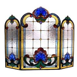 Fireplace Screen Stained Glass Tifany Style Living Room Décor Accent 31