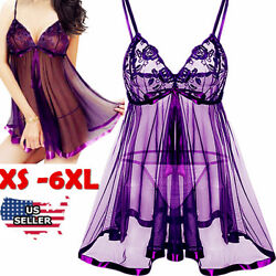 Sexy-Lingerie+Underwear Sleepwear-Lace-Women-G-string-Dress-Babydoll-Nightwear $10.44