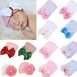Newborn Baby Infant Girl Comfy Bow Flower Bowknot Hospital Cap Beanie Hat Sequin