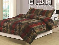 King Queen or Twin Rustic Southwest Comforter Bedding Set Bear Nature Cabin
