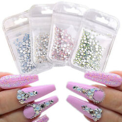Nail Art 3D Decoration Opal Jelly Glitter Rhinestones Flat Back AB Color Tips