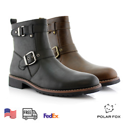 Men#x27;s Casual Engineer Zipper Motorcycle Leather Hiking Buckle Round toe Boots $49.99