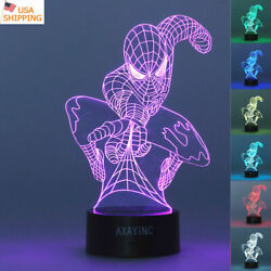 Super Hero Spider Man 3D LED Night Light Touch Table Desk Lamp Xmas Gift 7 Color $20.99