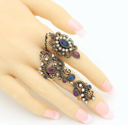 Vintage Styled Double Ring Crystals Rhinestones Antique GoldSilver