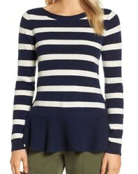 Nordstrom Signature Womens Ruffle Stripe  100% Cashmere Sweater Size S Navy Blue