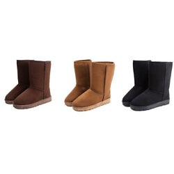 Womens Ladies Warm Fashion Suede Fur Lined Mid-calf Snow Flat Short Boots Shoes