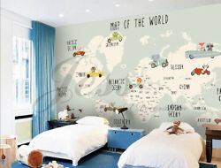 3D Nursery Muted Cars Map  Wallpaper Private list