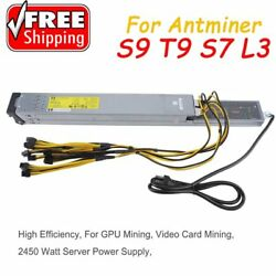 2450W Server Power Supply For Antminer S9 T9 S7 L3 With PCI-E Wiring Cable MY