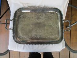 VINTAGE~XLarge~ [HADDON PLATE] Silver Plate [OVER COPPER] Serving Butler Tray