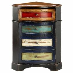 Rustic Multi-Colored Distressed One-Drawer Corner Cabinet Chest Home Furniture