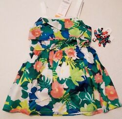 NWT Gymboree Girl 2T SUNNY SAFARI Tropical Tier Dress Curly Ribbon Hair Clips