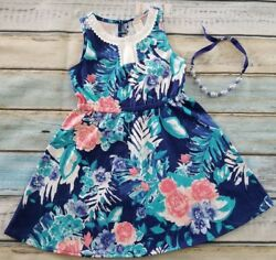 NWT Gymboree Girl Sz 5 8 Blue Tropical Floral Knit Dress & Blue Jewel Necklace