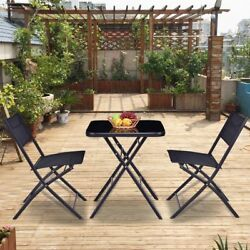 Outdoor Porch 3 Pcs Patio Bistro Set Folding Furniture Glass Table and 2 Chairs