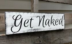 Farmhouse Wood Sign GET NAKED Bathroom Bedroom Laundry Home Decor Rustic $13.79