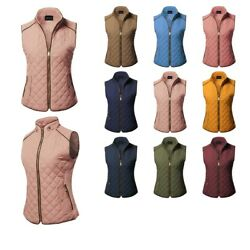 FashionOutfit Women's Quilted Suede Pipe Details Gold Zipper Vest Padding Jacket