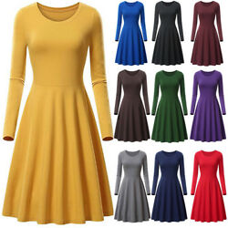 Women O-neck Long Sleeve High Waist Swing Skater A Line Casual Flare Skirt Dress