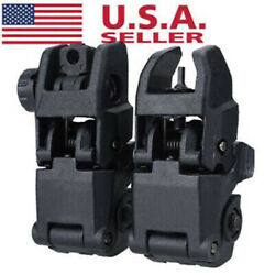 Tactical Folding Front And Rear Flip Up Backup Sights MBUS Set US Stock