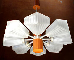 TEMDE TEAK CHANDELIER #1 Architectural 8 + 1 Ceiling Light Pendant Lamp 1960s