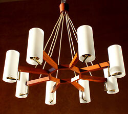 TEAK & OPAL GLASS Danish Architectural Chandelier Minimalistic Pendant Lamp