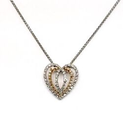 Damiani Heart Pendant With White And Rose Gold Diamonds New!