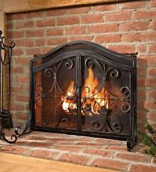Fireplace Protective Screen With Doors Durable Wrought Iron Elegant Accent Decor