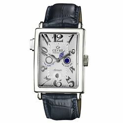 Gevril Men's 5850 Avenue of Americas Serenade 18kt White Gold Leather Watch.