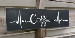 Rustic wood sign COFFEE bar heartbeat wooden farmhouse kitchen tea small 12quot; $13.79