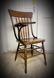 Antique Student Teacher Arm Chair School Desk Cast Iron Late 1800's Early 1900's $250.00