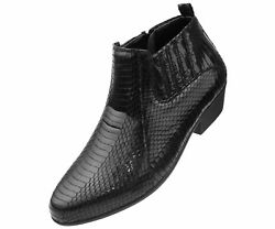 Bolano Men's Exotic Demi Dress Boot in Faux Snake Print Pattern Style: Adder